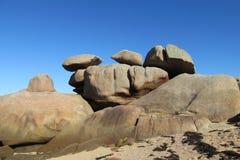 在沿海的花岗岩岩石 免版税库存照片