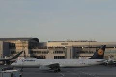 在法兰克福机场的汉莎航空公司飞机 库存图片