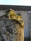 在法国公墓里面的生苔石头 免版税图库摄影