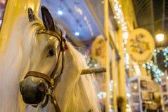 在法国旋转木马的马 库存照片
