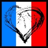 在法国旗子的颜色的符号心脏 图库摄影