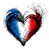 在法国旗子的颜色的符号心脏 库存图片