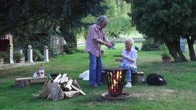 在法国样式的煎蛋用龙篙是欢欣在营火 股票视频