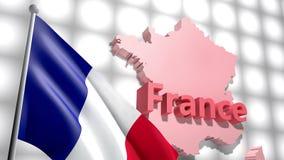 在法国的地图的法国旗子 股票录像