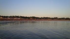 在法国皇太子海岛阿拉巴马上的日落 库存照片