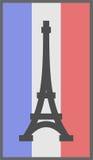 在法国背景旗子的巴黎标志  免版税图库摄影