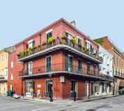 在法国街区的历史建筑在新奥尔良 免版税库存照片