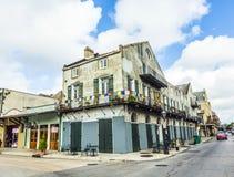 在法国街区的历史建筑 免版税库存照片