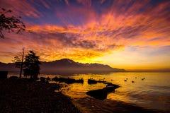 在法国阿尔卑斯的日落从蒙特勒 免版税图库摄影