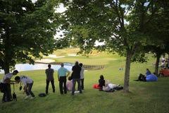 在法国高尔夫球的孔16打开2013年 免版税库存照片