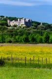 在法国(加尔省)的南部的风景:乡下和城堡 免版税库存图片