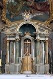 在法坛的临时房屋在假定教会里在Marija na Muri,克罗地亚的 库存图片