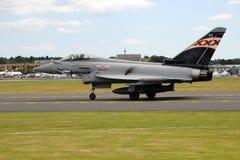 在法布拉国际飞行表演的台风战斗机2014年 免版税图库摄影