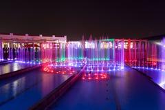 在法拉利世界的喷泉在阿布扎比 免版税库存照片