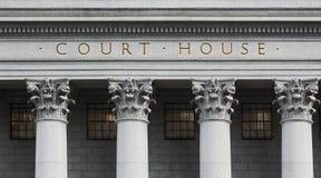 在法院大楼的题字 免版税库存图片