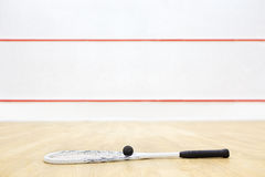 在法院的短网拍墙球设备 免版税库存图片