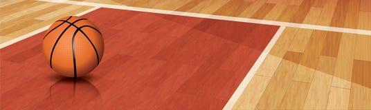 在法院的篮球 免版税库存图片