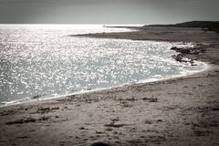 在法鲁海岛上的长的沙子海滩在瑞典 库存图片
