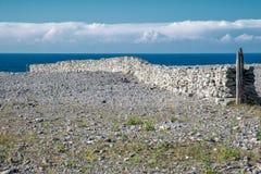 在法鲁海岛的石灰石墙壁在波罗的海 免版税库存图片