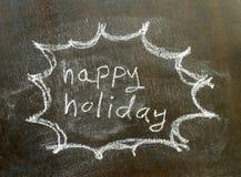 在泡影标志的词愉快的假日 免版税库存图片