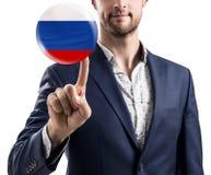 在泡影的商人点与俄国旗子 免版税库存图片