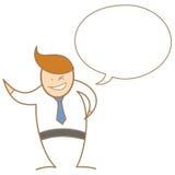 在泡影的商人谈话和微笑 免版税库存图片