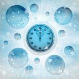 在泡影的秒表在冬天降雪 库存照片