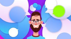 在泡影backgroung男性情感具体化,人动画片象画象微笑胡子面孔的外形新的想法闲谈支持 向量例证