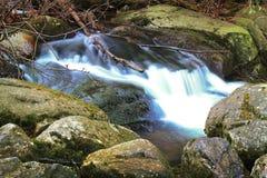 在波兰山的狂放的瀑布 有小瀑布的河 免版税库存图片