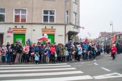 在波兰美国独立日的人群在格但斯克 庆祝独立100th周年  免版税库存照片