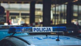 在波兰警车上面 库存图片
