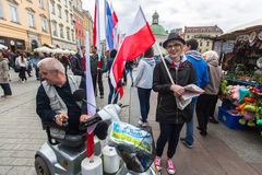 在波兰语共和国的国旗纪念日期间-是行动介绍的全国节日2004年2月20日 免版税库存图片