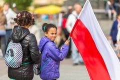在波兰语共和国的国旗纪念日期间-是行动介绍的全国节日2004年2月20日 免版税图库摄影