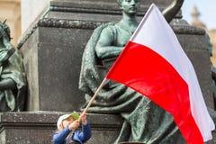 在波兰语共和国的国旗纪念日期间-是行动介绍的全国节日2004年2月20日 库存照片