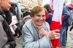 在波兰语共和国的国旗纪念日期间-是行动介绍的全国节日2004年2月20日 免版税库存照片