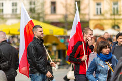 在波兰语共和国的国旗纪念日期间-是行动介绍的全国节日 免版税库存图片