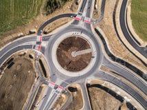 在波兰鸟瞰图的环形交通枢纽 库存照片