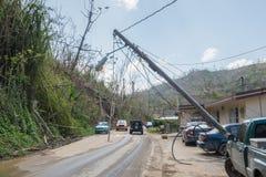 在波多黎各路的泥幻灯片在飓风玛丽亚以后 免版税库存照片