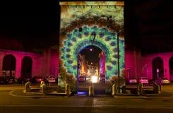 在波尔塔罗马纳广场的光装饰在意大利列蒂意大利 免版税库存图片