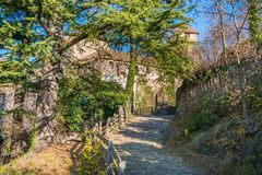 在波尔查诺附近的Castel Roncolo,大约特伦托自治省女低音阿迪杰,在意大利 免版税库存图片