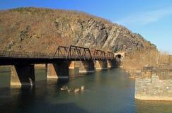 在波托马克河的桁架桥 免版税库存照片
