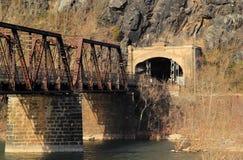 在波托马克河的桁架桥 免版税库存图片