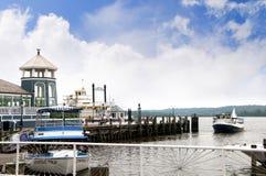 在波托马克河的银行的明轮船在亚历山大在弗吉尼亚美国 库存图片