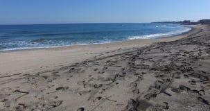 在波摩莱海湾的黑沙子,保加利亚 免版税库存图片