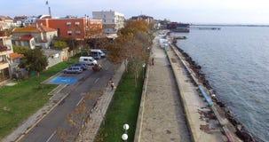 在波摩莱的老部分的秋天堤防在保加利亚 免版税库存图片