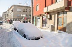 在波摩莱街道上的汽车随风飘飞的雪的在保加利亚,冬天 库存照片