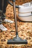 在波斯地毯的吸尘器 库存照片