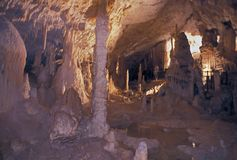 在波斯托伊纳洞里面,斯洛文尼亚 免版税库存照片
