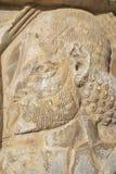 在波斯波利斯废墟的浅浮雕在设拉子,伊朗 免版税库存图片