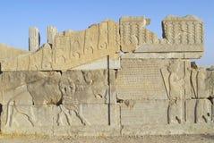 在波斯波利斯废墟的浅浮雕在设拉子,伊朗 库存图片